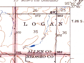 Reduced fragment of topographic map en--usgs--063k--050478--(1943)--N037-45_W095-45--N037-30_W095-30; towns and cities Benedict, Buffalo, Altoona