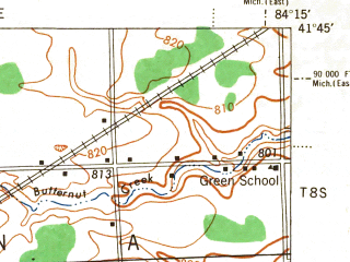Reduced fragment of topographic map en--usgs--063k--050488--(1944)--N041-45_W084-30--N041-30_W084-15; towns and cities Alvordton, Archbold, Fayette