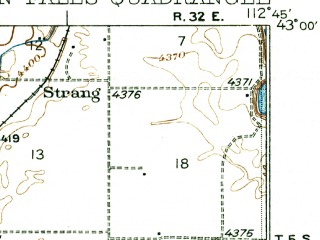 Reduced fragment of topographic map en--usgs--063k--050515--(1936)--N043-00_W113-00--N042-45_W112-45; towns and cities Aberdeen, American Falls
