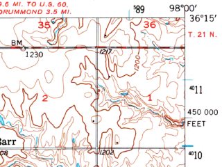 Reduced fragment of topographic map en--usgs--063k--050516--(1956)--N036-15_W098-15--N036-00_W098-00; towns and cities Ames