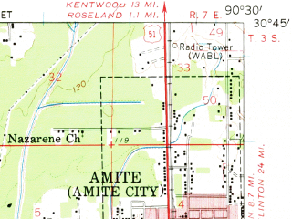 Reduced fragment of topographic map en--usgs--063k--050522--(1959)--N030-45_W090-45--N030-30_W090-30; towns and cities Albany, Amite City, Independence