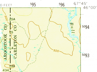 Reduced fragment of topographic map en--usgs--063k--050525--(1958)--N046-00_W068-00--N045-45_W067-45