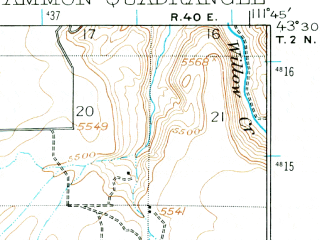 Reduced fragment of topographic map en--usgs--063k--050526--(1924)--N043-30_W112-00--N043-15_W111-45; towns and cities Ammon