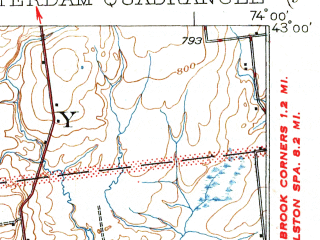 Reduced fragment of topographic map en--usgs--063k--050529--(1931)--N043-00_W074-15--N042-45_W074-00; towns and cities Amsterdam, Fort Johnson, Hagaman