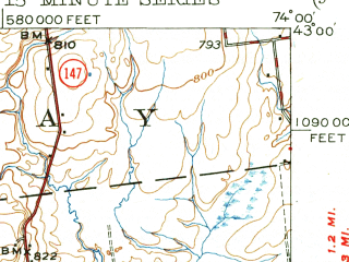 Reduced fragment of topographic map en--usgs--063k--050529--(1949)--N043-00_W074-15--N042-45_W074-00; towns and cities Amsterdam, Fort Johnson, Hagaman