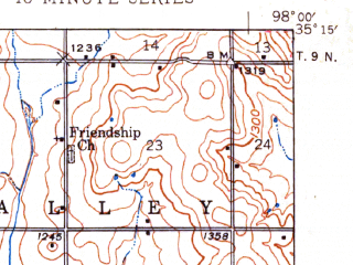 Reduced fragment of topographic map en--usgs--063k--050538--(1945)--N035-15_W098-15--N035-00_W098-00 in area of Lake Chickasha; towns and cities Anadarko, Verden
