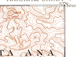 Reduced fragment of topographic map en--usgs--063k--050539--(1896)--N034-00_W118-00--N033-45_W117-45 in area of Peters Canyon Reservoir; towns and cities Anaheim, Fullerton, Garden Grove, Orange, Diamond Bar