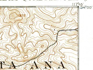 Reduced fragment of topographic map en--usgs--063k--050539--(1901)--N034-00_W118-00--N033-45_W117-45 in area of Peters Canyon Reservoir; towns and cities Anaheim, Fullerton, Garden Grove, Orange, Hacienda Heights