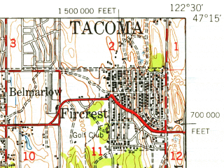 Reduced fragment of topographic map en--usgs--063k--050574--(1948)--N047-15_W122-45--N047-00_W122-30 in area of American Lake; towns and cities Lakewood, University Place, Fort Lewis, Steilacoom, Fircrest