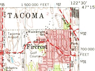 Reduced fragment of topographic map en--usgs--063k--050574--(1959)--N047-15_W122-45--N047-00_W122-30 in area of American Lake; towns and cities Lakewood, University Place, Fort Lewis, Steilacoom, Fircrest