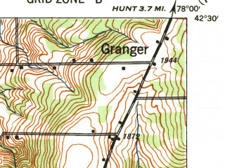 Reduced fragment of topographic map en--usgs--063k--050582--(1941)--N042-30_W078-15--N042-15_W078-00 in area of Rushford Lake; towns and cities Angelica, Fillmore, Houghton