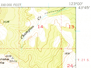 Reduced fragment of topographic map en--usgs--063k--050589--(1954)--N043-45_W123-15--N043-30_W123-00 in area of Cottage Grove Lake