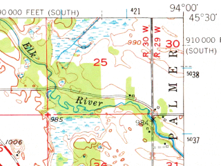 Reduced fragment of topographic map en--usgs--063k--050590--(1951)--N045-30_W094-15--N045-15_W094-00 in area of Clearwater Lake, Sugar Lake, Cedar Lake; towns and cities Annandale, Clearwater, South Haven