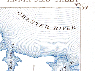 Reduced fragment of topographic map en--usgs--063k--050592--(1892)--N039-00_W076-30--N038-45_W076-15; towns and cities Naval Academy, Stevensville, Stevensville South, Highland Beach
