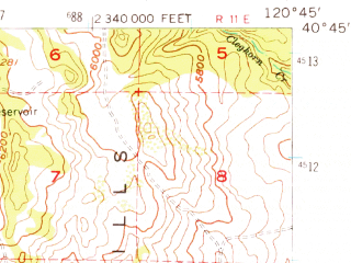 Reduced fragment of topographic map en--usgs--063k--050605--(1956)--N040-45_W121-00--N040-30_W120-45