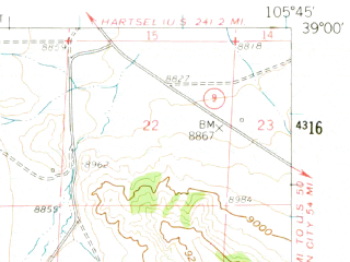 Reduced fragment of topographic map en--usgs--063k--050609--(1959)--N039-00_W106-00--N038-45_W105-45