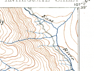 Reduced fragment of topographic map en--usgs--063k--050611--(1893)--N039-00_W107-15--N038-45_W107-00