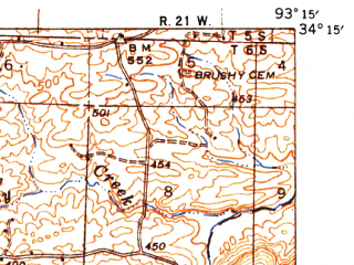 Reduced fragment of topographic map en--usgs--063k--050617--(1943)--N034-15_W093-30--N034-00_W093-15; towns and cities Antoine
