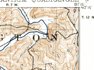 Reduced fragment of topographic map en--usgs--063k--050622--(1909)--N040-15_W081-30--N040-00_W081-15; towns and cities Old Washington, Freeport
