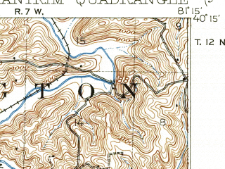 Reduced fragment of topographic map en--usgs--063k--050622--(1911)--N040-15_W081-30--N040-00_W081-15; towns and cities Freeport, Old Washington