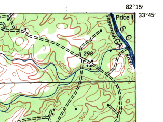 Reduced fragment of topographic map en--usgs--063k--050632--(1943)--N033-45_W082-30--N033-30_W082-15