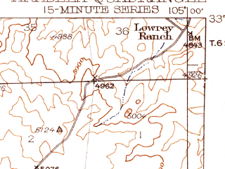 Reduced fragment of topographic map en--usgs--063k--050634--(1942)--N033-45_W105-15--N033-30_W105-00