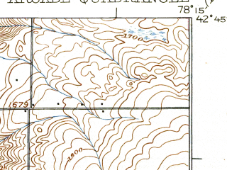 Reduced fragment of topographic map en--usgs--063k--050640--(1925)--N042-45_W078-30--N042-30_W078-15; towns and cities Arcade, Yorkshire