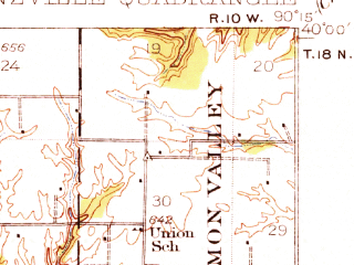 Reduced fragment of topographic map en--usgs--063k--050667--(1932)--N040-00_W090-30--N039-45_W090-15; towns and cities Arenzville, Chapin, Concord
