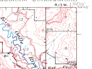Reduced fragment of topographic map en--usgs--063k--050674--(1941)--N044-45_W092-15--N044-30_W092-00; towns and cities Plum City