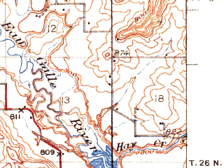 Reduced fragment of topographic map en--usgs--063k--050674--(1942)--N044-45_W092-15--N044-30_W092-00; towns and cities Plum City