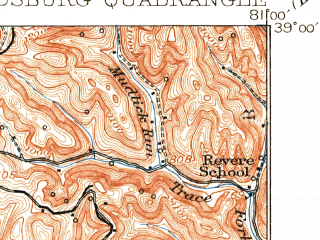 Reduced fragment of topographic map en--usgs--063k--050690--(1927)--N039-00_W081-15--N038-45_W081-00; towns and cities Grantsville