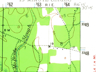 Reduced fragment of topographic map en--usgs--063k--050692--(1940)--N030-15_W084-30--N030-00_W084-15; towns and cities Sopchoppy