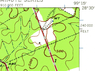 Reduced fragment of topographic map en--usgs--063k--050704--(1940)--N028-30_W099-30--N028-15_W099-15