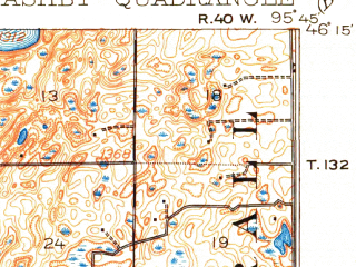 Reduced fragment of topographic map en--usgs--063k--050718--(1913)--N046-15_W096-00--N046-00_W095-45 in area of Pelican Lake, Ten Mile Lake, Stalker Lake; towns and cities Ashby, Dalton