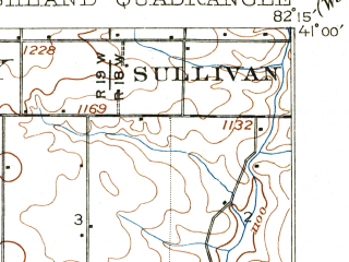 Reduced fragment of topographic map en--usgs--063k--050724--(1908)--N041-00_W082-30--N040-45_W082-15; towns and cities Ashland, Bailey Lakes, Hayesville, Mifflin