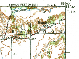 Reduced fragment of topographic map en--usgs--063k--050732--(1946)--N038-30_W089-15--N038-15_W089-00; towns and cities Ashley, Irvington, Radom