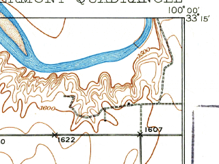 Reduced fragment of topographic map en--usgs--063k--050737--(1931)--N033-15_W100-15--N033-00_W100-00; towns and cities Aspermont