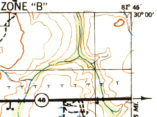 Reduced fragment of topographic map en--usgs--063k--050744--(1942)--N030-00_W082-00--N029-45_W081-45 in area of Georges Lake; towns and cities Penney Farms