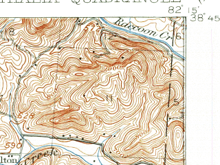 Reduced fragment of topographic map en--usgs--063k--050745--(1906)--N038-45_W082-30--N038-30_W082-15; towns and cities Athalia, Crown City