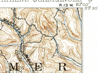 Reduced fragment of topographic map en--usgs--063k--050750--(1905)--N039-30_W082-15--N039-15_W082-00; towns and cities Athens, Jacksonville, Nelsonville, The Plains