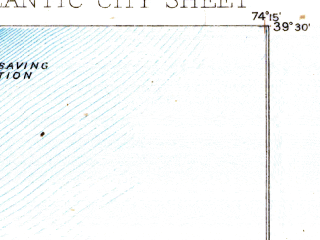 Reduced fragment of topographic map en--usgs--063k--050766--(1887)--N039-30_W074-30--N039-15_W074-15; towns and cities Atlantic City, Brigantine, Ventnor City, Absecon