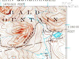 Reduced fragment of topographic map en--usgs--063k--050771--(1923)--N045-45_W070-30--N045-30_W070-15 in area of Wood Pond, Holeb Pond