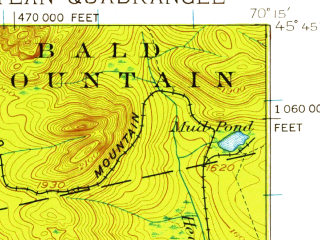 Reduced fragment of topographic map en--usgs--063k--050771--(1925)--N045-45_W070-30--N045-30_W070-15 in area of Wood Pond, Holeb Pond