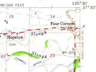 Reduced fragment of topographic map en--usgs--063k--050781--(1961)--N037-30_W120-45--N037-15_W120-30; towns and cities Atwater, Winton, Livingston