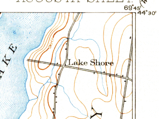 Reduced fragment of topographic map en--usgs--063k--050794--(1892)--N044-30_W070-00--N044-15_W069-45 in area of Maranacook Lake, Torsey Lake; towns and cities Farmingdale, Hallowell, Winthrop