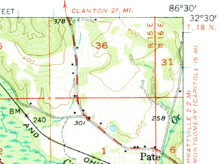 Reduced fragment of topographic map en--usgs--063k--050808--(1957)--N032-30_W086-45--N032-15_W086-30; towns and cities Autaugaville, Lowndesboro, White Hall