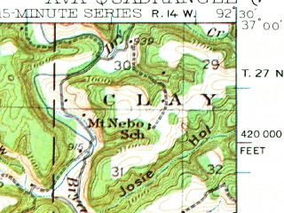 Reduced fragment of topographic map en--usgs--063k--050810--(1942)--N037-00_W092-45--N036-45_W092-30; towns and cities Ava