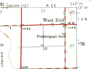 Reduced fragment of topographic map en--usgs--063k--050819--(1946)--N033-30_W112-30--N033-15_W112-15; towns and cities Avondale, Goodyear, Tolleson