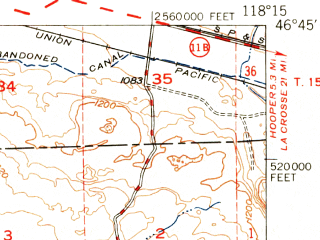 Reduced fragment of topographic map en--usgs--063k--050826--(1950)--N046-45_W118-30--N046-30_W118-15
