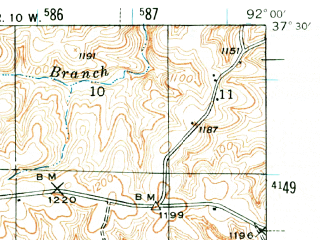 Reduced fragment of topographic map en--usgs--063k--050842--(1941)--N037-30_W092-15--N037-15_W092-00